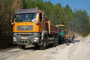Postavljanje asfalta na lokaciji ispod Sopotskog slapa